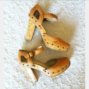 Calvin Klein Studded Chunky Corkscrew Heels